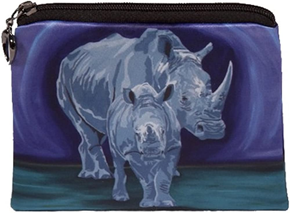From My Original Painting Support Wildlife Conservation Rhino Change Purse