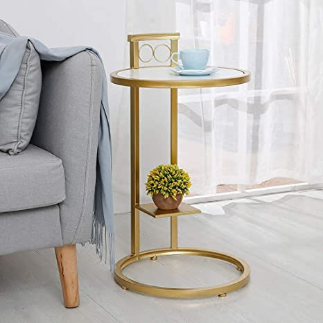 Small Round Coffee Table With Metal Ring Base Marble Wood
