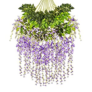 Ivyue 12sPack Wisteria Vine Artificial Silk Wisteria Lane Rattan Fake Wisteria Artificial Flowers Garland Hanging Flowers Wisteria Bush for Home Garden Party Wall Wedding Decoration 3.6feet 1