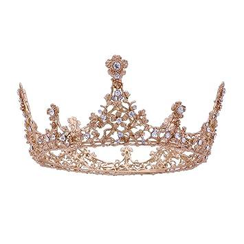 Frcolor Diadem Hochzeit Krone Tiara Braut Strass Haarreifen Rhinestone Haar Tiara f/ür Hochzeit Braut Haarschmuck