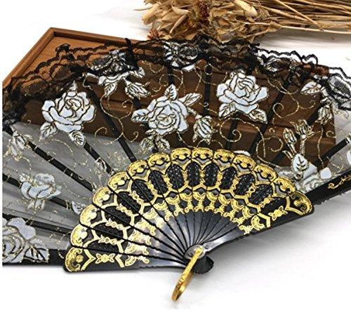 Black Luxury Rose Pattern Glitter Floral Lace Hand Fan Party Dance Folding Hand Fan Dance Party Kraft Gifts