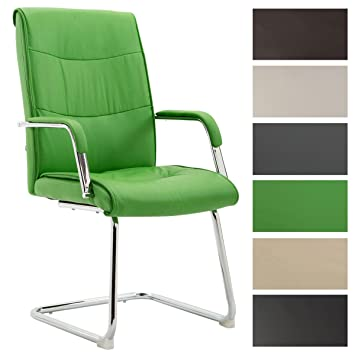 CLP Silla de Conferencia Caro V2 en Cuero Sintético I Silla de Comedor Estilo Cantiléver I Silla de Espera Color: Verde