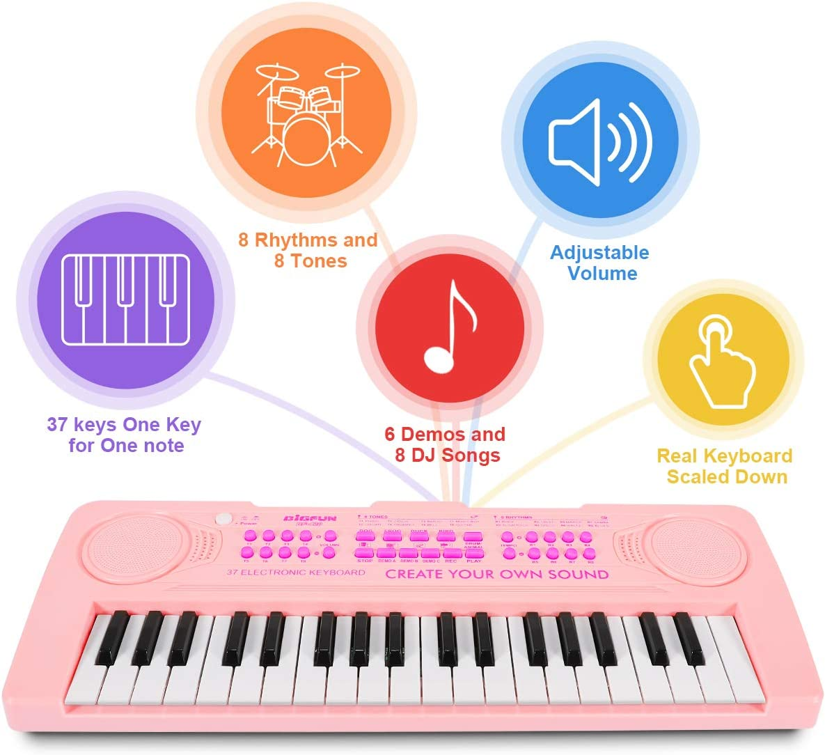 Magicfun Mini Teclado Electrónico Piano Juguete, 37 Teclas Teclado Piano con Micrófono, Sonidos de Animales, Batería y Tempo, Musical Instrumento ...