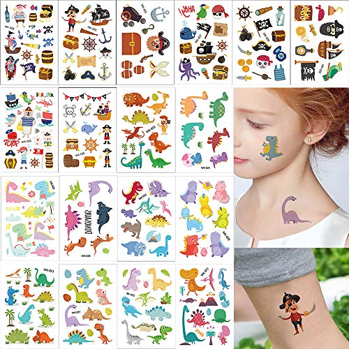 (Kids Temporary Tattoos 18 Sheets Small Fake Tattoo Stickers Summer Beach Dinosaur & Pirate Series Body Art Tattoo Supplies Cute Pirated Cannon Powder Jake Captain Decals for Boys Party Accessories)