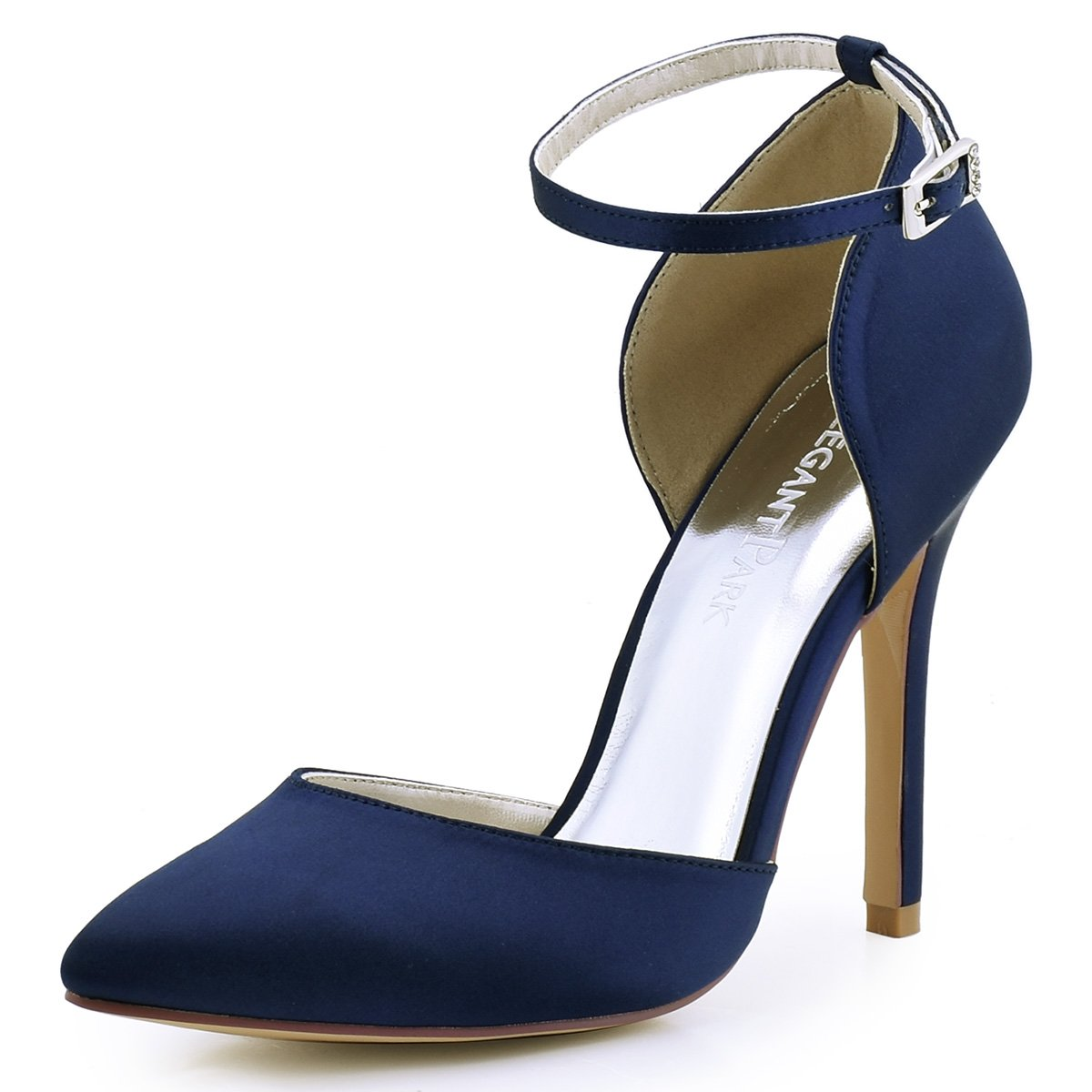ElegantPark HC1602 Women's Pointed Toe High Heel Ankle Strap D'Orsay Satin Dress Pumps Navy Blue US 9