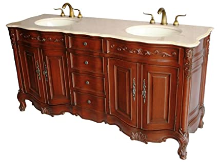 Beau 68 Inch Antique Style Double Sink Bathroom Vanity Model 2241 BE
