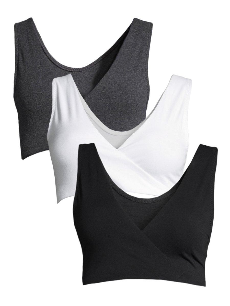 Lamaze Women's 3 Pack Maternity Overnight Nursing Wide Band Shoulder Straps Bra White/Charcoal Heather/Black Medium
