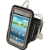 igadgitz Schwarz Reflektierende Anti-Rutsch Neopren Sports Armband Oberarmtasche Tasche Schutz Hülle Etui Case für Samsung Galaxy S3 III Mini I8190 Android Smartphone (NICHT FÜR GALAXY S3 i9300 GEEIGNET)