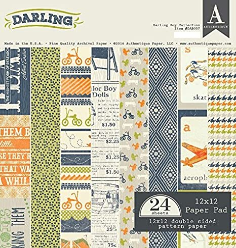 """12/"""" by 12/"""" Authentique AUTDAB007 Darling Boy Paper Pad"""