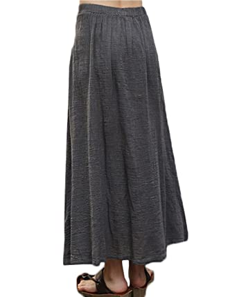 7b9f94a31f ZANZEA Women Vintage Loose Linen Casual Summer Pleated Aline Swing Maxi  Skirt Plus Size Grey 3XL  Amazon.co.uk  Clothing