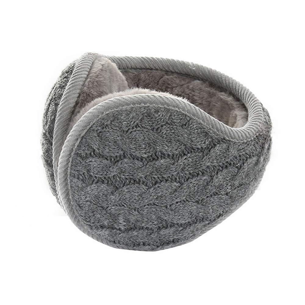 Exlura Unisex Winter Earmuffs Warm Knit Ear Warmers Fleece Earmuffs Pure Color Adjustable Band