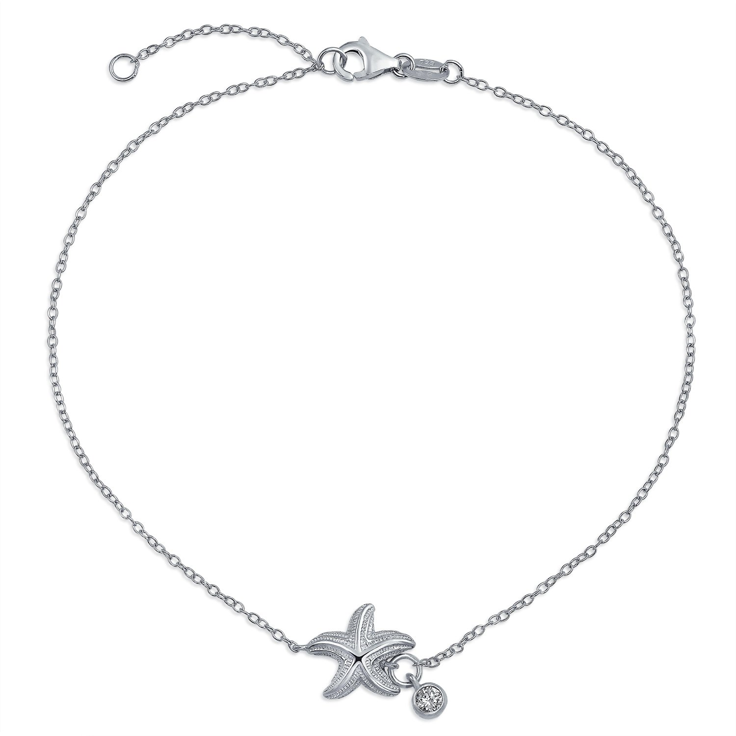 Bling Jewelry 925 Silver Solitaire CZ Charm Nautical Starfish Anklet 9in PFS-54-0362-S