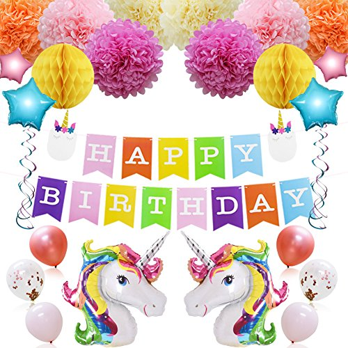 Magical Unicorn Party Supplies Kit with Rainbow Unicorn Foil Balloons, Star Balloons, Happy Birthday Banner, Paper Pom Poms, Honeycomb Balls, Hang Swirls for Kids Birthday, Baby Shower