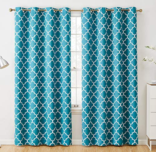 HLC.ME Lattice Print Thermal Insulated Blackout Room Darkening Energy Efficient Window Curtain Grommet Panels - Set of 2 - 52