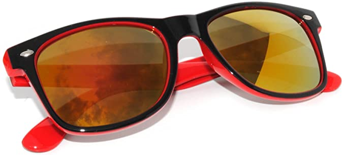 e91a664cc23 Image Unavailable. Image not available for. Color  New Women Vintage Two-Tone  Sunglasses (Red Mirror Lens)