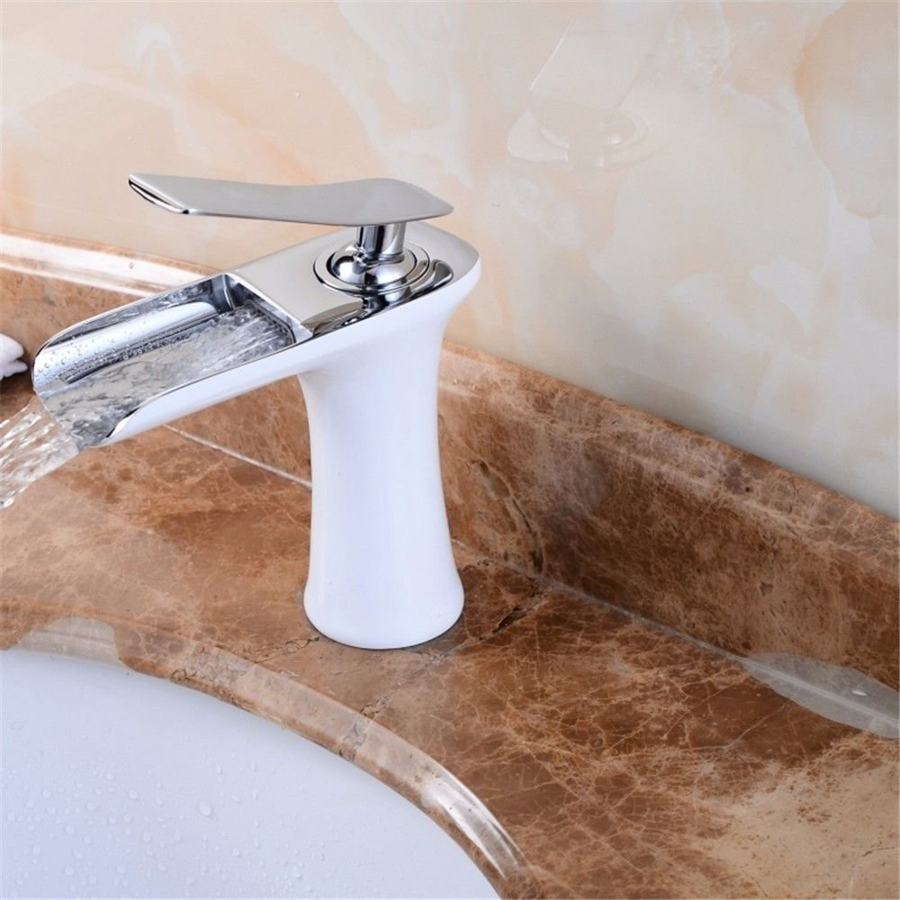 Lalaky Taps Faucet Kitchen Mixer Sink Waterfall Bathroom Mixer Basin Mixer Tap for Kitchen Bathroom and Washroom White Painted Hot and Cold Water Waterfall Spout