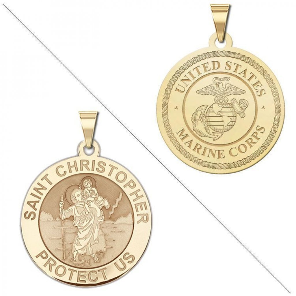 Saint Christopher Doubledside MARINES Religious Medal 3/4 Inch Solid 14K Yellow Gold