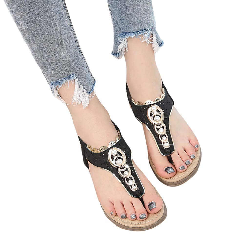 Women Flat Sandals Summer,SIN+MON Womens Wild Bohemian Pearl Clip-Toe T-Strap Shoes Elastic Band Comfort Flip Flops Sandals