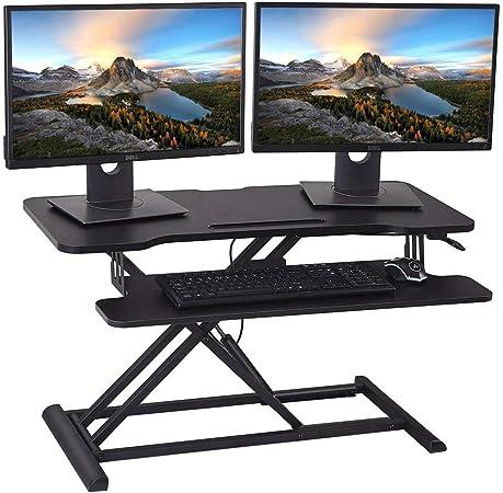 HUVIBE - Convertidor de escritorio de pie con altura ajustable para soporte de computadora, elevador de mesa de 36 pulgadas negro con bandeja de teclado para monitores duales y portátiles: Amazon.es: Hogar