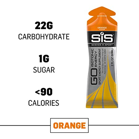 Science in Sport Energy Gel Pack, SIS Isotonic Energy Gel, 22g Fast Acting Carbs, Performance Endurance Gels, Orange Flavor – 2 Oz. 30 Pack