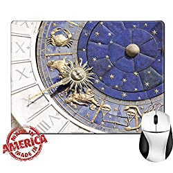 "Luxlady Natural Rubber Mouse Pad/Mat with Stitched Edges 9.8"" x 7.9"" Detail of Zodiac clock at San Marco square in Venice IMAGE 37294511"