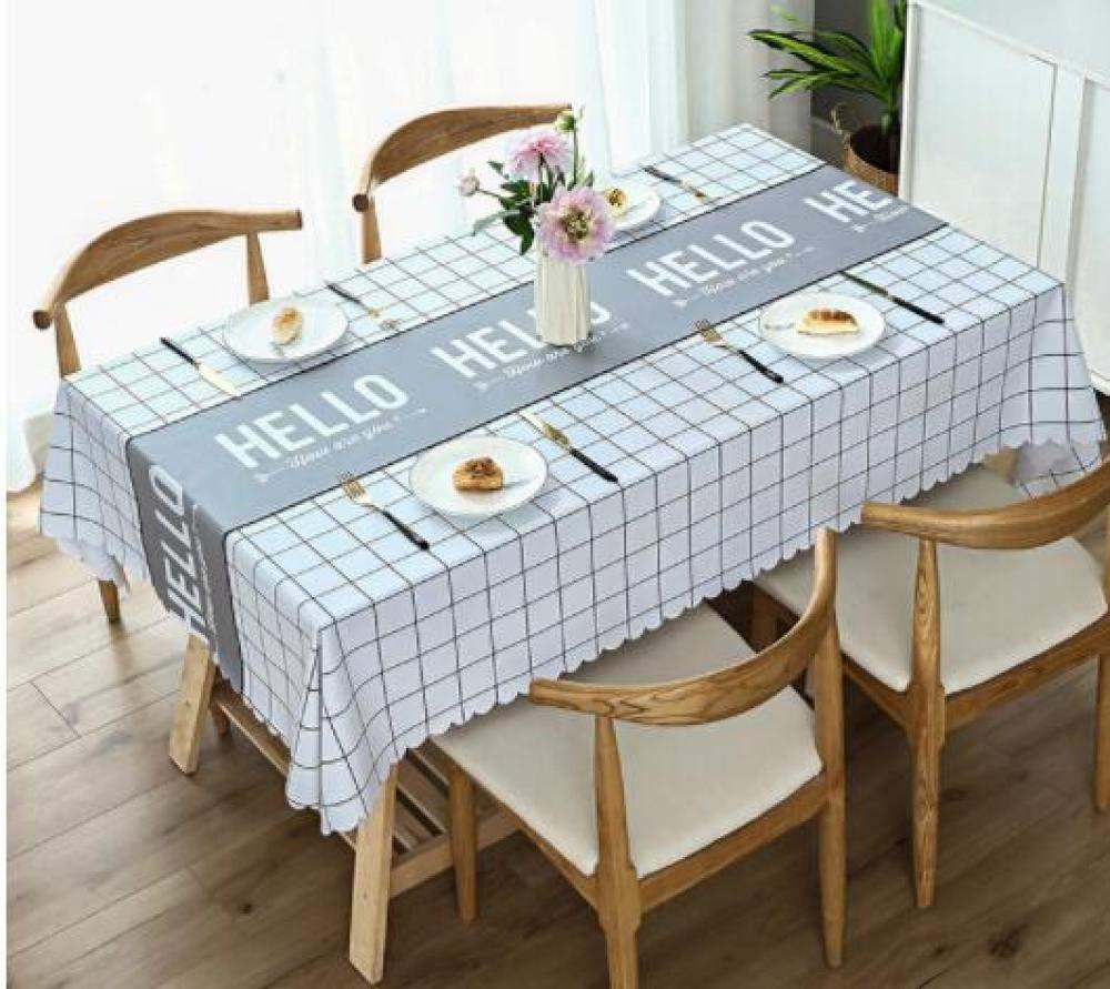 WJJYTX Wachstuch tischdecke, große abwischbare PVC-Vinyl-Tischdecke, die Küchentisch-Abdeckungs-Schutz-Blatt Nordic Letter @ 140 * 220 speist