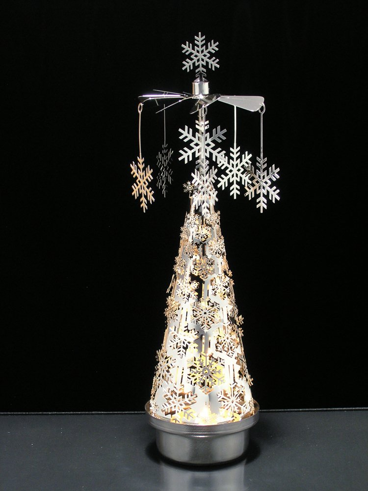 """""""Spinning Snowflakes Candle Holder with Snowflake Tree Scandinavian Design"""""""