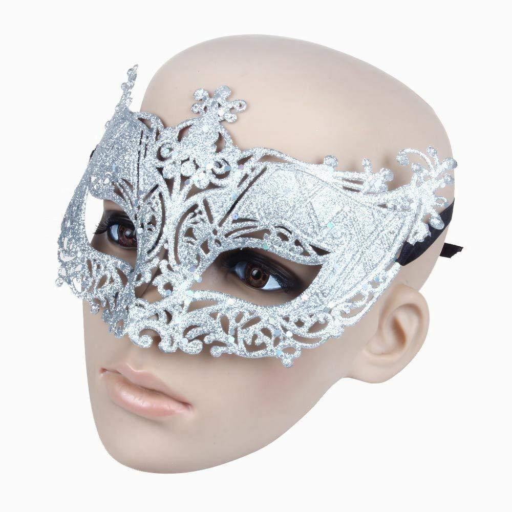 Xiton TM Frauen Maske venezianische Maskerade Party Kleid Karneval Kost/üm Maskenball Halloween-Masken Silber