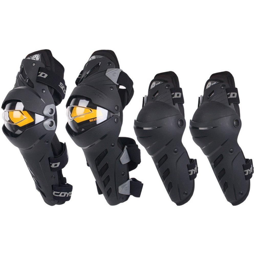 YHDD オートバイの肘と膝パッドモトクロスサイクリングプロテクターガードアーマーライドサイクリングスケーティングスキー4個セット