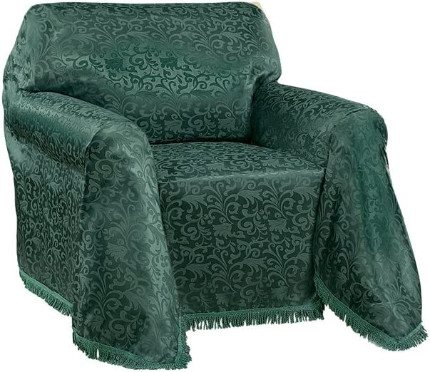 Collections Etc Alexandria Scroll Furniture Throw Cover w/Fringe Trim, Hunter Green, Chair