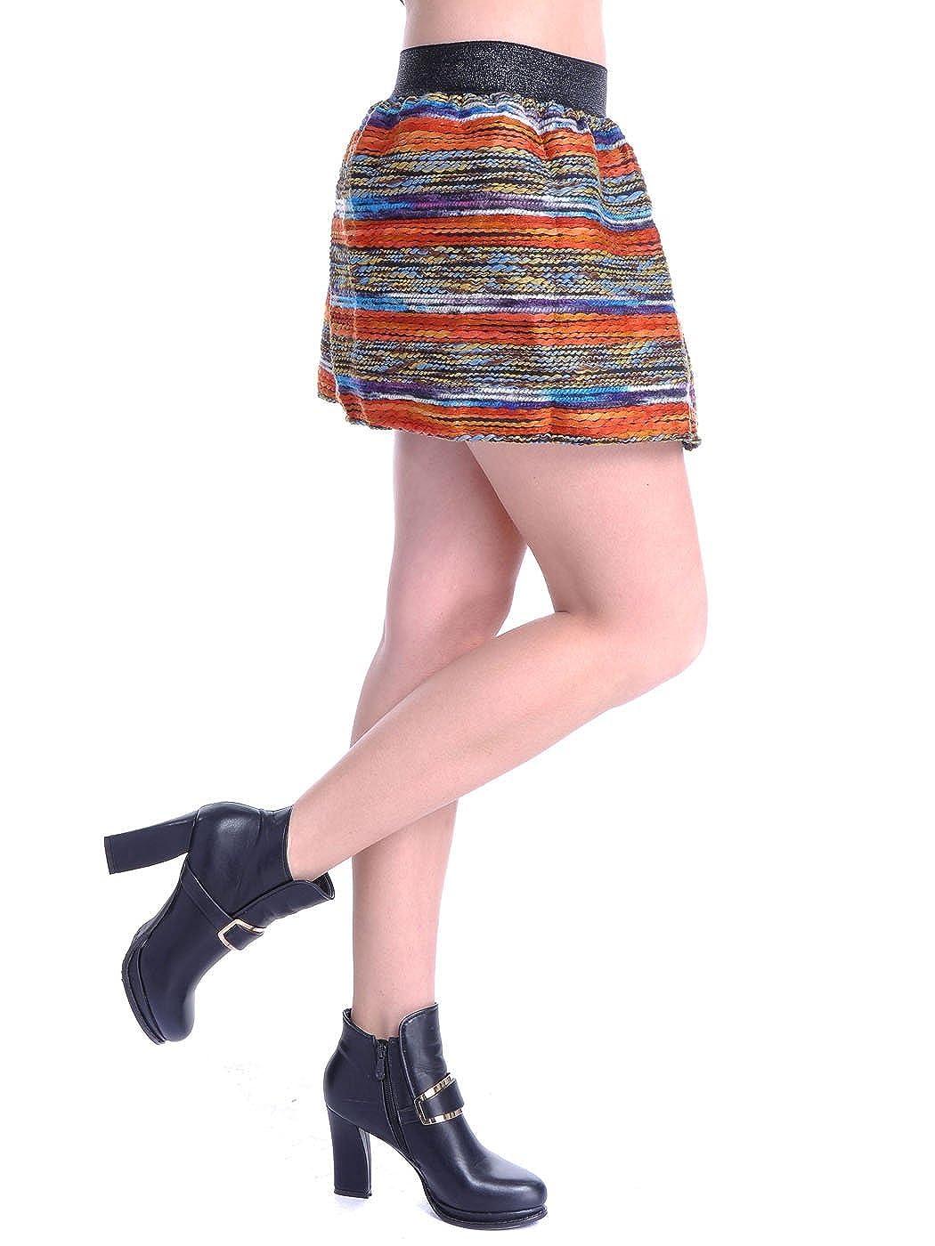 Anna-K S//M Fit Multicoloured Kaleidoscope Horizontal Yarn Print Flared Skirt