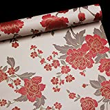 floral shelf liner adhesive - SimpleLife4U Vintage Red Peony Removable PVC Shelf Drawer Liner Home Decor Contact Paper 17x118 Inch