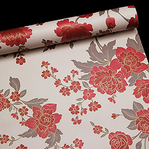 Locker Room Style Nightstand (SimpleLife4U Vintage Red Peony Removable PVC Shelf Drawer Liner Home Decor Contact Paper 17x118 Inch)