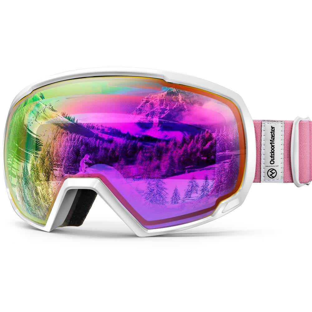 OutdoorMaster OTG Ski Goggles - Over Glasses Ski / Snowboard Goggles for Men, Women & Youth - 100% UV Protection (White Frame + VLT 45% Purple Lens with Full REVO Red) by OutdoorMaster