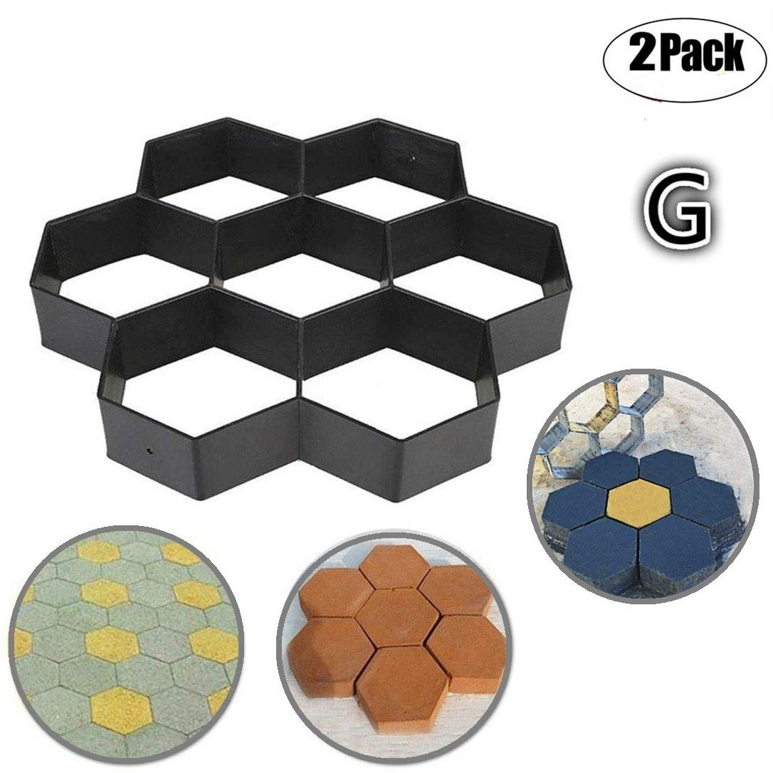 2 Pack Concrete Molds Path mold, Ponydash DIY Personalized Manual Patio Cement Stone Pavement Mould Reusable Stepping Mold Paver Walk Maker-Pattern for Paving Pavement Patio Walkway(Model G)