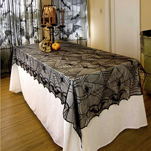 JunMu Happy Halloween Tablecloth, 52'' x 100'' Rectangular Tablecloth, Black Spider Halloween Tablecloth Table Covers Overlay - Perfect for Halloween, Dinner Party and Scary Movie Nights