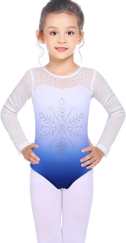 Zaclotre Gymnastics Leotards for Girls Long Sleeve Sparkly Leotards for Kids