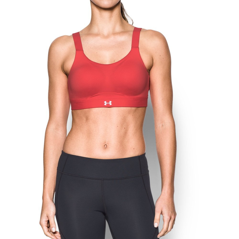 Under Armour Women's Eclipse High Impact Sports Bra, Pomegranate /Metallic Silver, 32A by Under Armour