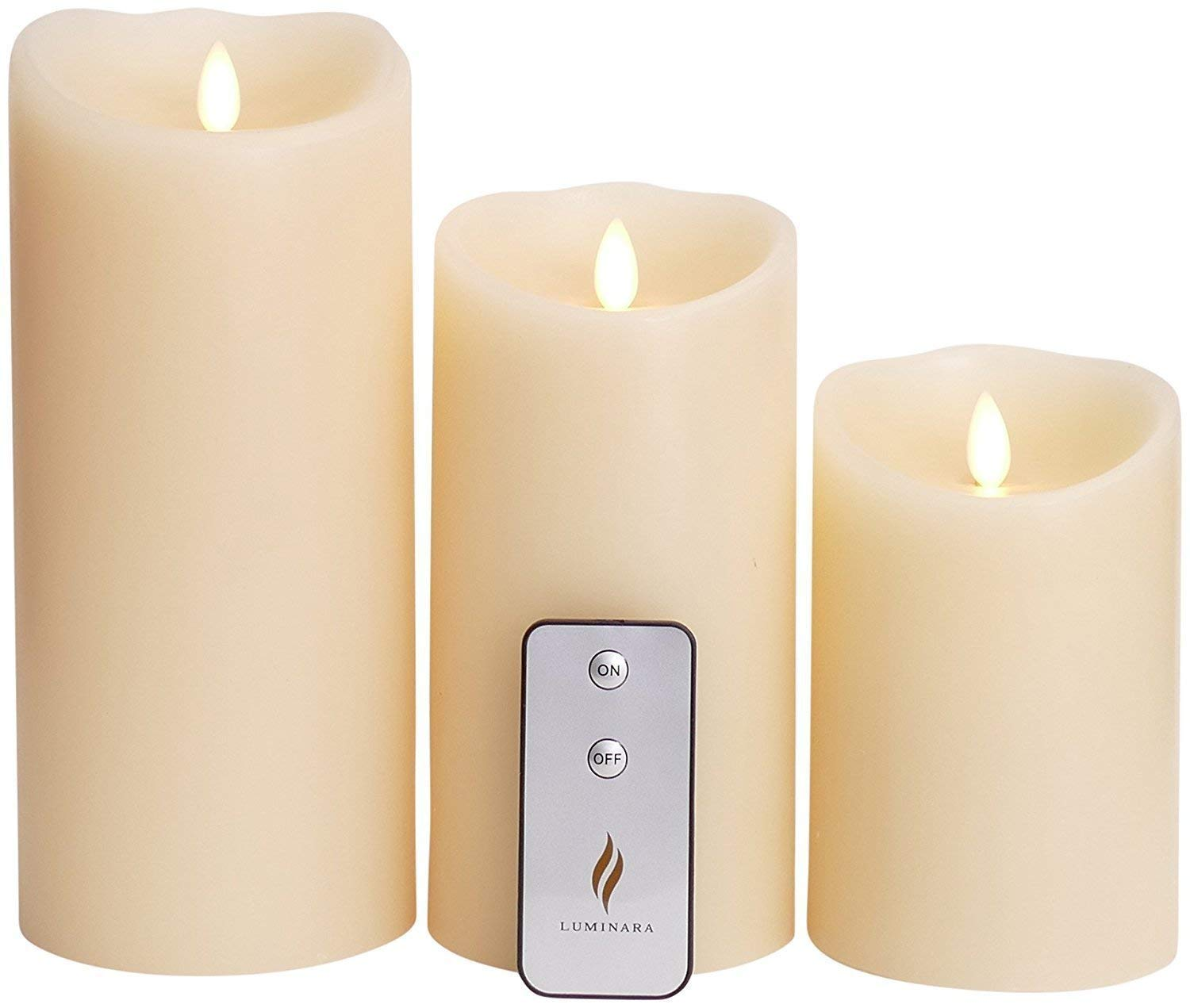 LED Flameless Candle Set of 3pcs,3.5-Inch by 5/7/9-Inch Pillar Candle with Moving Wick,Ivory by ZG&HY