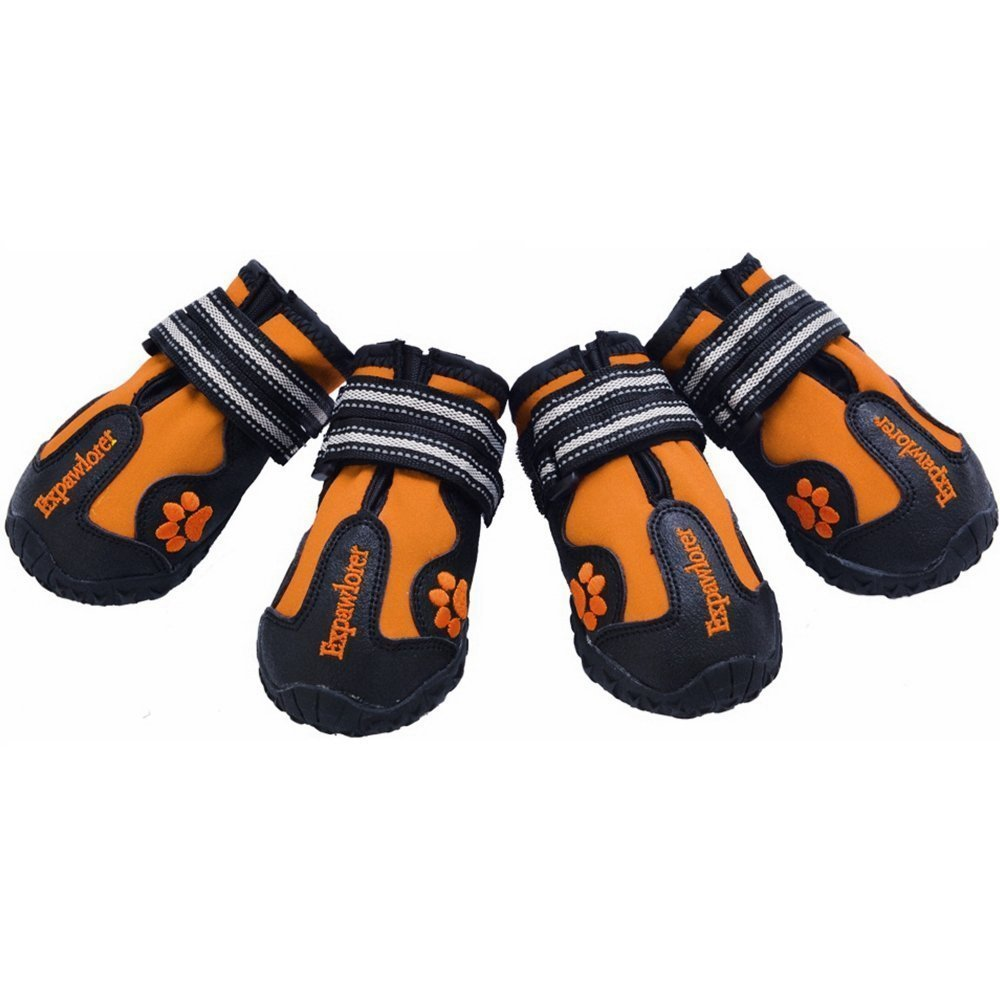 EXPAWLORER Waterproof Dog Boots with Reflective Velcro and Anti-Slip Sole for Medium to Large Dogs