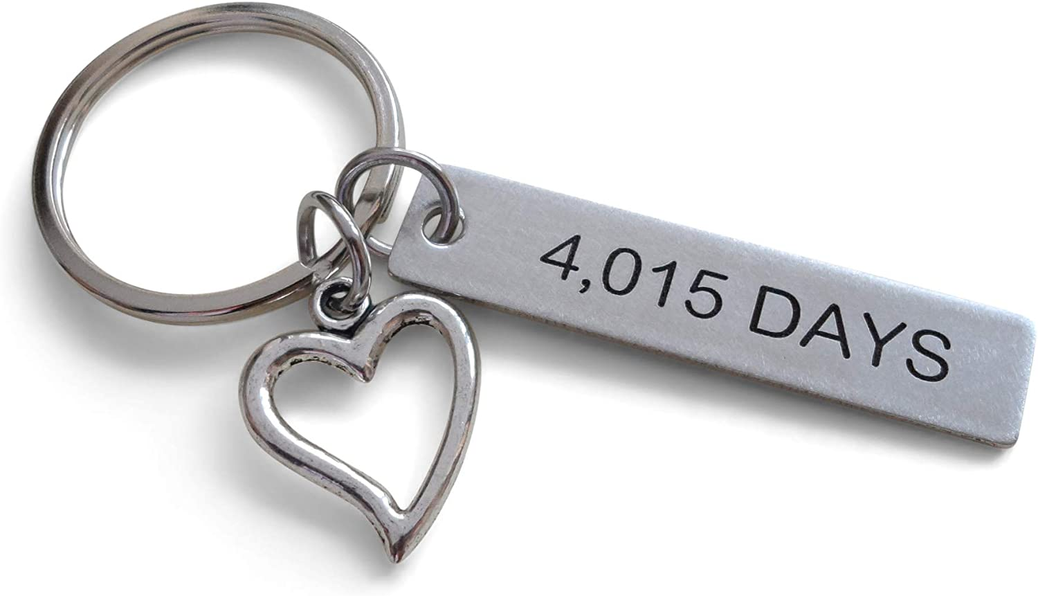 Amazon Com Stainless Steel Tag Keychain Engraved With 4 015 Days With Heart Charm 11 Year Anniversary Couples Keychain Office Products