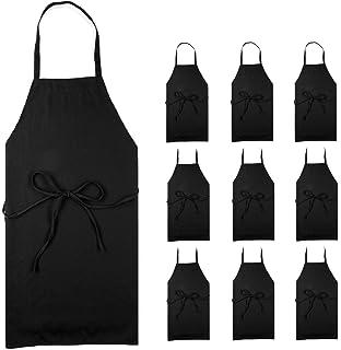 42c9026b2 Professional Black Bib Aprons for Restaurant - Set of 12 Durable Adult  Waitress Chef Kitchen Apron