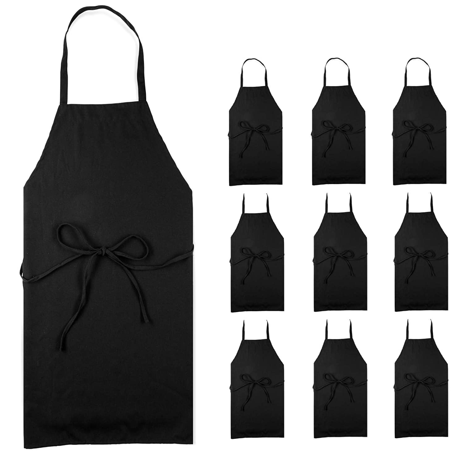 Professional Black Bib Aprons for Restaurant - Set of 12 Durable Adult Waitress Chef Kitchen Apron for women & men (Bulk 12 Pack - Black)