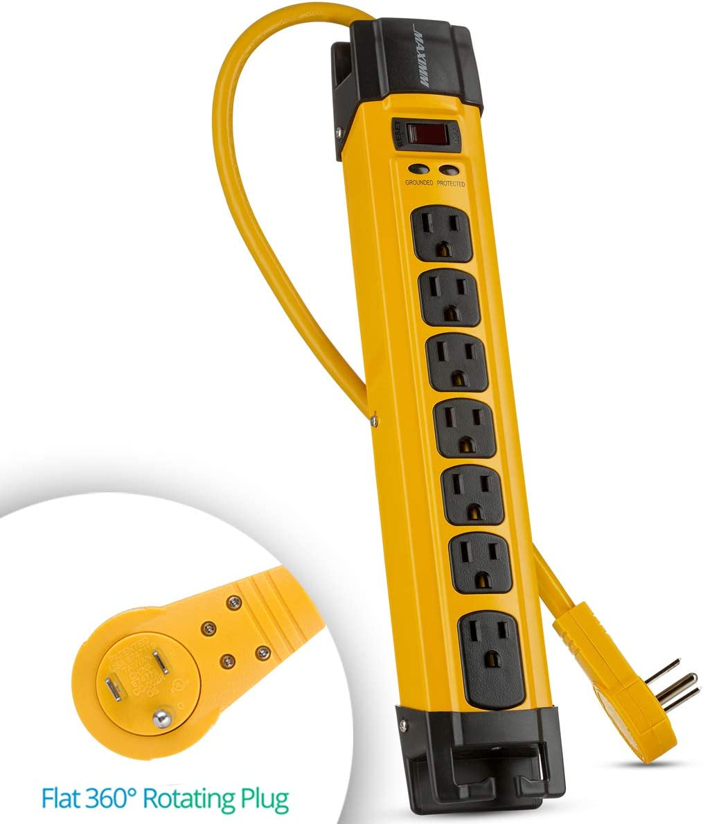Maximm Heavy Duty Metal Power Strip Surge Protector 1440 Joules 7 AC Outlets 360 Degree Rotating Flat Plug 6 ft Long Extension Cord Cord Management, Multi Outlet Yellow Jobsite, Workshop
