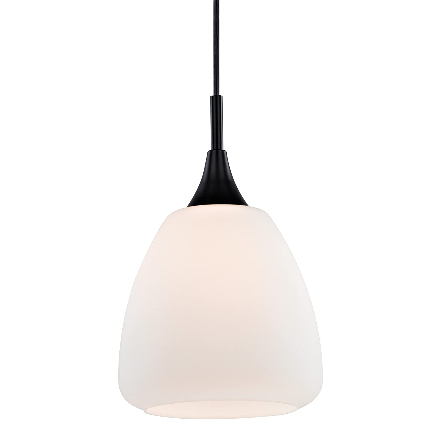 Westinghouse Lighting 6309300 One-Light Indoor Mini Pendant Matte Black Finish with Frosted Opal Glass