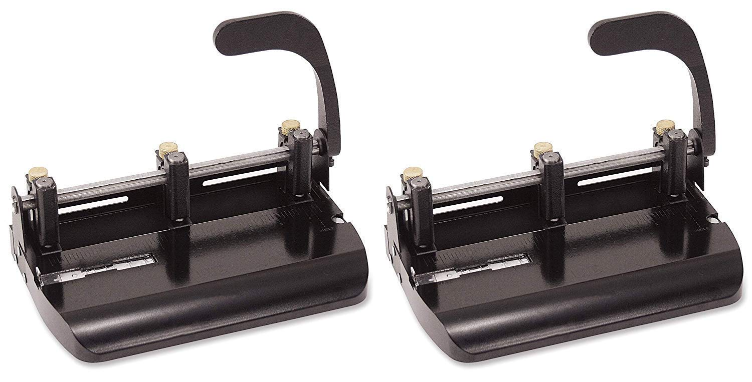 Officemate Heavy Duty Adjustable 2-3 Hole Punch with Lever Handle, 32-Sheet Capacity, Black (90078) (Pack of 2)