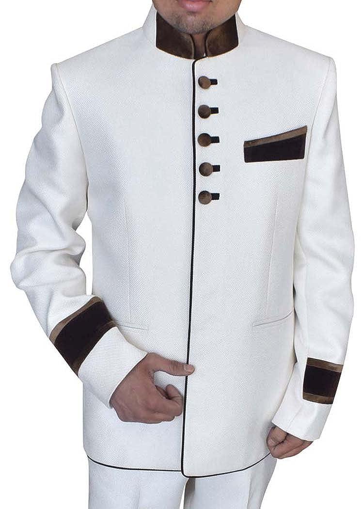 INMONARCH Mens White 2 pc Jute Jodhpuri Tuxedo Suit TX0994 ...