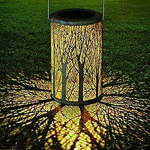 6168%2Br1t LED Solar Laterne für Draußen, GolWof Solar Garten Hängende Laterne Zylinderförmige Nachtlicht Wasserdicht IP44 mit…