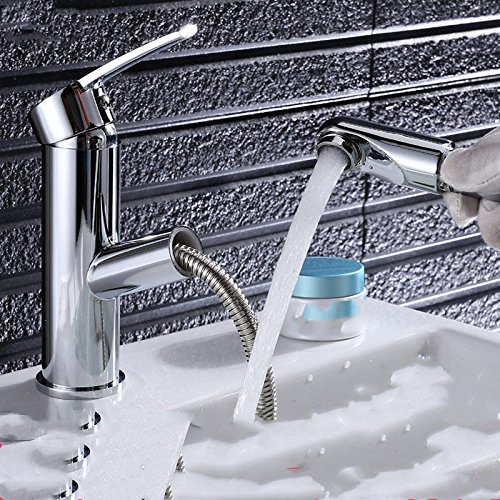 Good quality Antique Basin Sink Mixer Tap The bathroom pull hot and cold full copper single hole scalable Washbasin Faucet