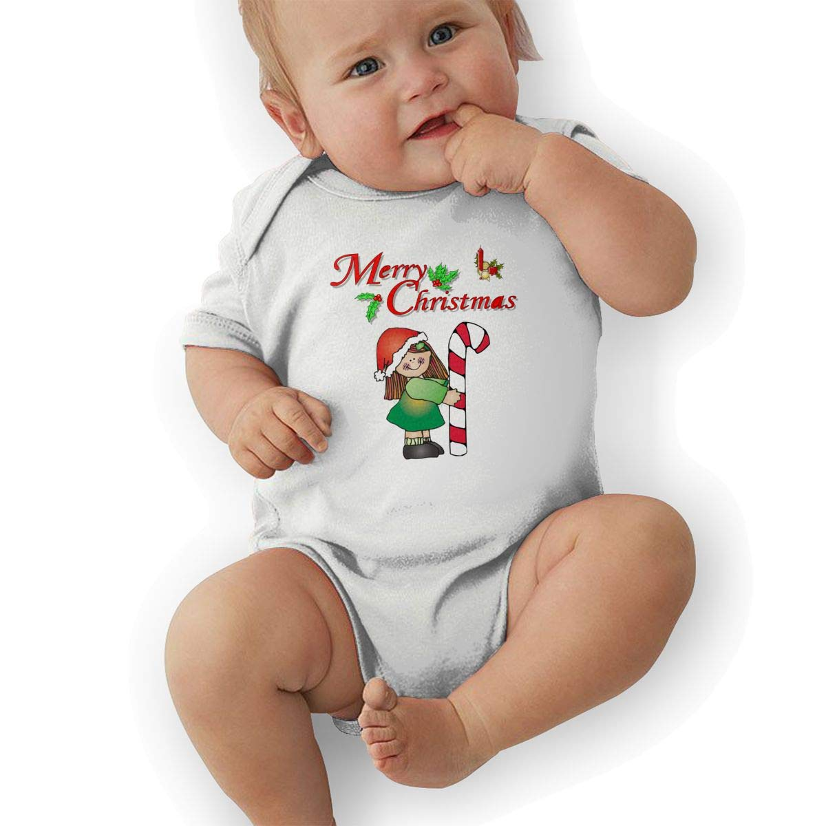 Infant Baby Boys Bodysuit Short-Sleeve Onesie Christmas Girl Candy Cane Print Jumpsuit Autumn Pajamas